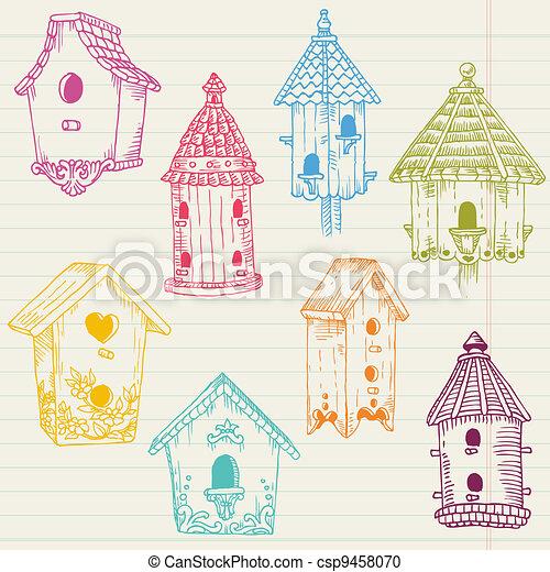 かわいい 家 手 鳥 ベクトル デザイン 引かれる スクラップブック