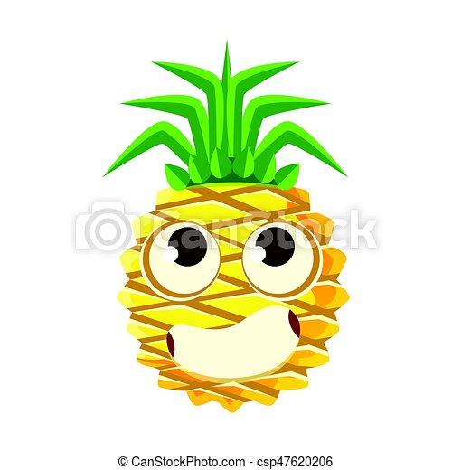 かわいい, 当惑させている, 大きい, 特徴, イラスト, 顔, ベクトル, パイナップル, eyes., 漫画, emoji - csp47620206