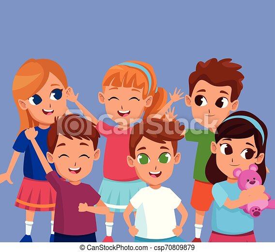 かわいい, 微笑, 子供, 漫画, 幸せ - csp70809879