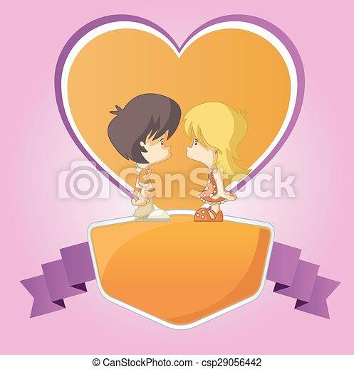 かわいい, 恋人, 子供, 愛, 漫画 - csp29056442