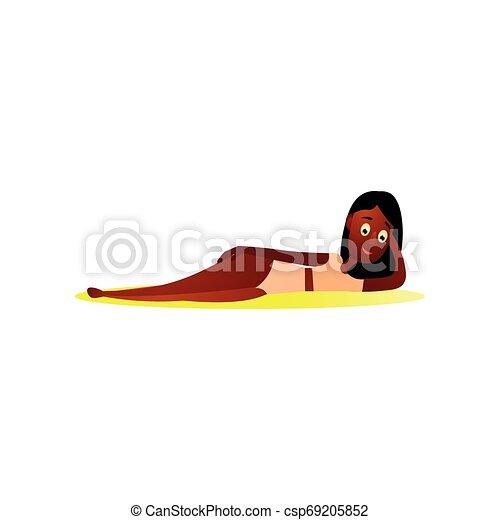 かわいい, 暑い, 残り, 水着, ビキニ, 砂, アフリカ, 女の子 - csp69205852