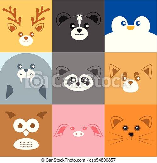 かわいい 様々 動物 イラスト 顔 かわいい グラフィック 背景