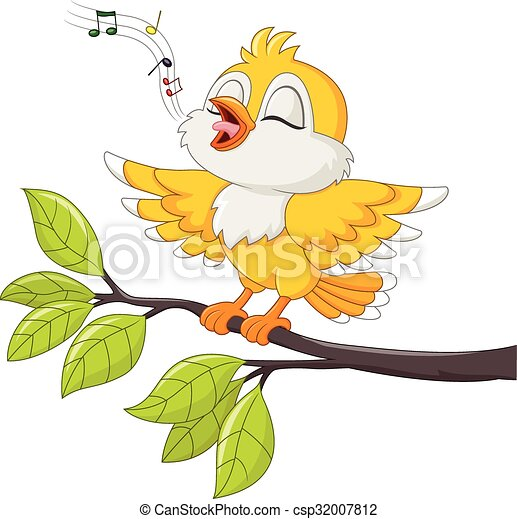 かわいい 歌っている鳥 黄色 隔離された かわいい 隔離された