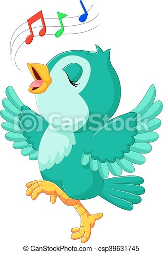 かわいい 歌っている鳥 イラスト