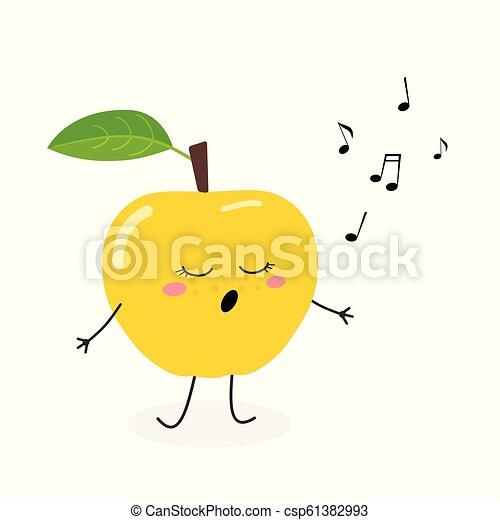 かわいい, 歌手, 漫画, アップル - csp61382993