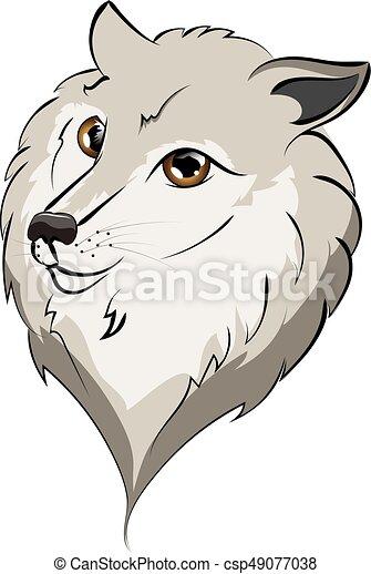 かわいい 狼 肖像画 かわいい 目 Illustration 大きい 灰色の オオカミ 肖像画 漫画