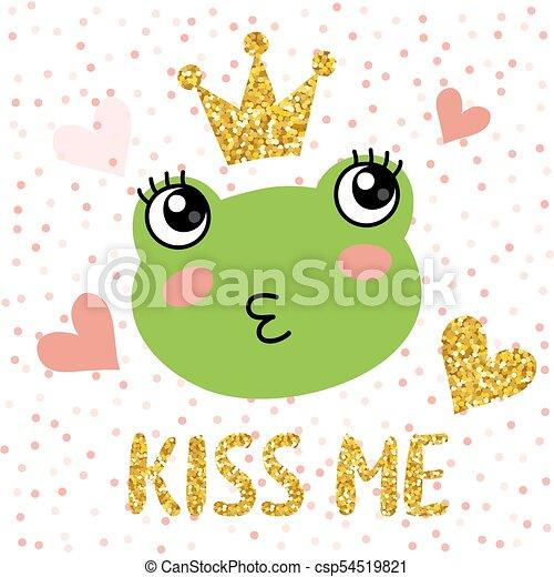 かわいい 王冠 カエル かわいい 金の王冠 イラスト ベクトル