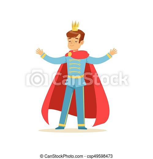 かわいい 男の子 Fairytale 王冠 イラスト あるいは 外套
