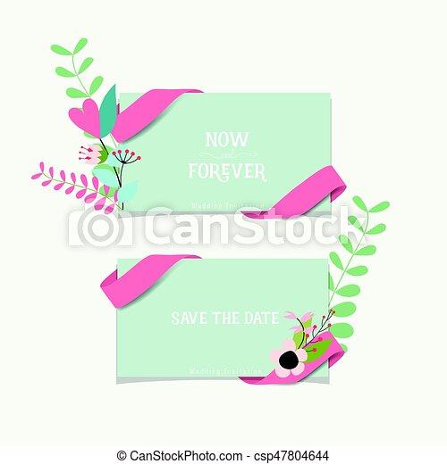 かわいい, 花, 招待, イラスト, ベクトル, デザイン, 結婚式, カード, templates.