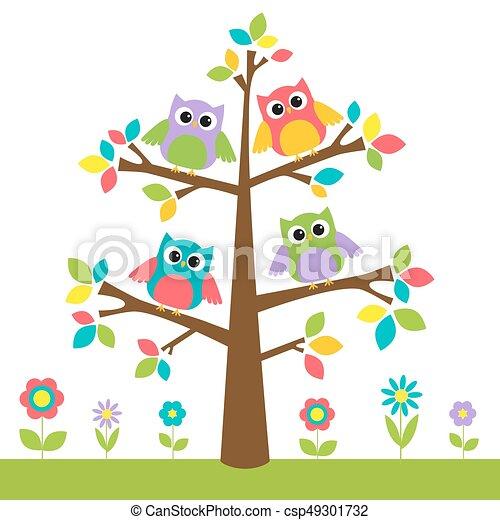かわいい 花 木 カラフルである フクロウ かわいい カラフルである 木 イラスト フクロウ Flowers ベクトル