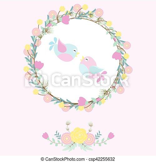 かわいい, 花, 葉書, カード, 花輪, イラスト, 招待, 結婚式, suitable, 鳥, 壁紙