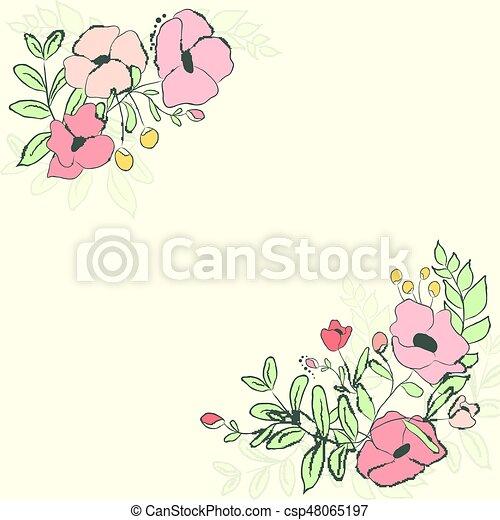 かわいい 花 Bouquet イラスト ベクトル カード