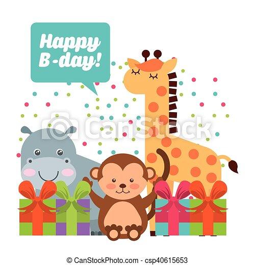かわいい, 誕生日パーティー, 動物, 祝福. かわいい, birthday ...