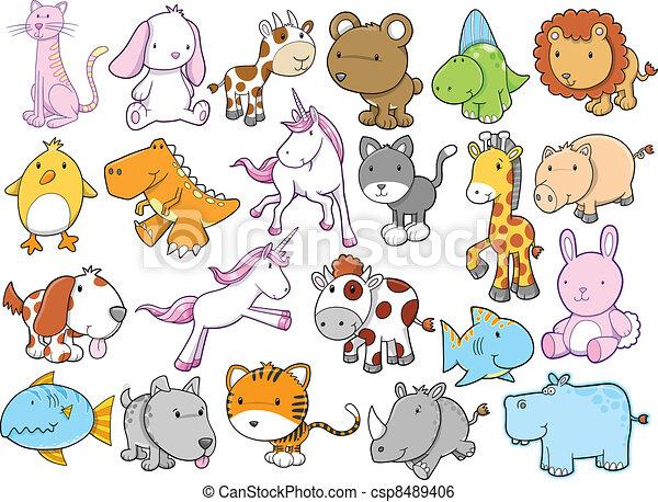 かわいい, 野生生物, ベクトル, セット, 動物 - csp8489406