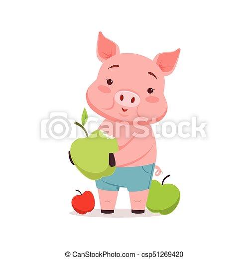 かわいい 面白い イラスト 豚 りんご ベクトル 動物 漫画