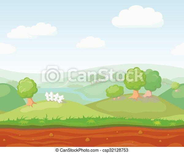 かわいい 風景 自然 国 Seamless ベクトル 横 漫画 かわいい