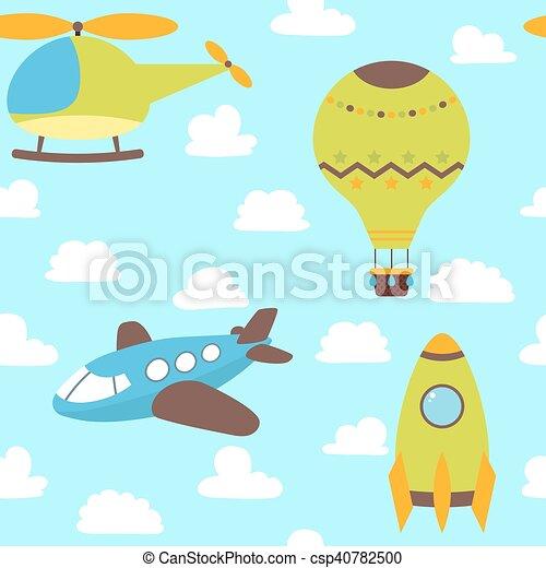かわいい Balloon 面白い 飛行機 パターン 子供 Seamless 空気