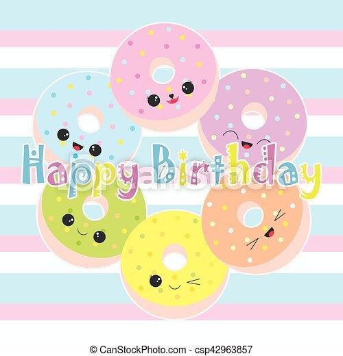 かわいい Birthday イラスト カラフルである ドーナツ かわいい