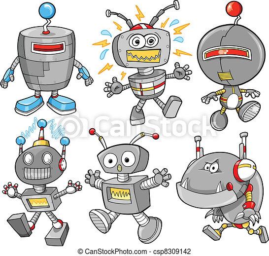 かわいい Cyborg ベクトル セット ロボット かわいい セット