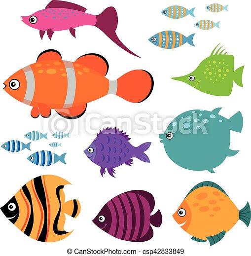 かわいい Fish イラスト ベクトル 水族館 魚 微笑 Set 水泳