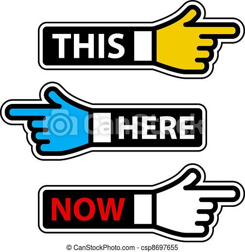 これ, ラベル, ここに, 手, ベクトル, 今, ポインター - csp8697655