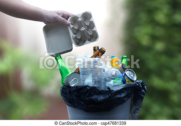 ごみ, ガラス, がらくた, 減らしなさい, 再生利用できる, プラスチック, 環境, 節約, consisting - csp47681339