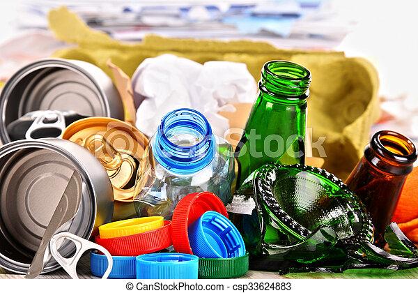 ごみ, 金属, 再生利用できる, ペーパー, ガラス, プラスチック, consisting - csp33624883