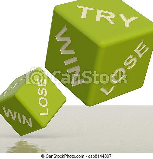 さいころ, 勝利, 提示, 試み, チャンス, 緑, 失いなさい, ギャンブル - csp8144807