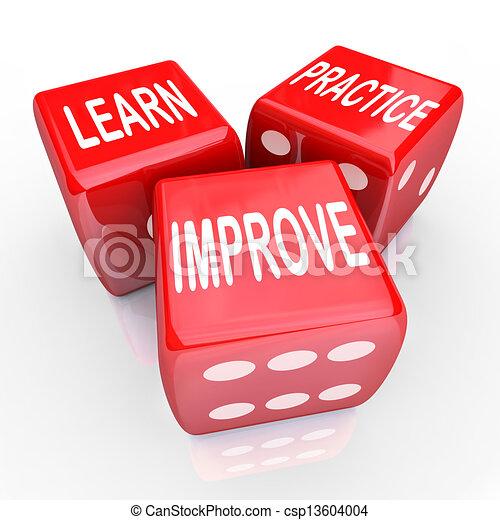 さいころ, 練習, 3, 言葉, 学びなさい, 赤, 改良しなさい - csp13604004