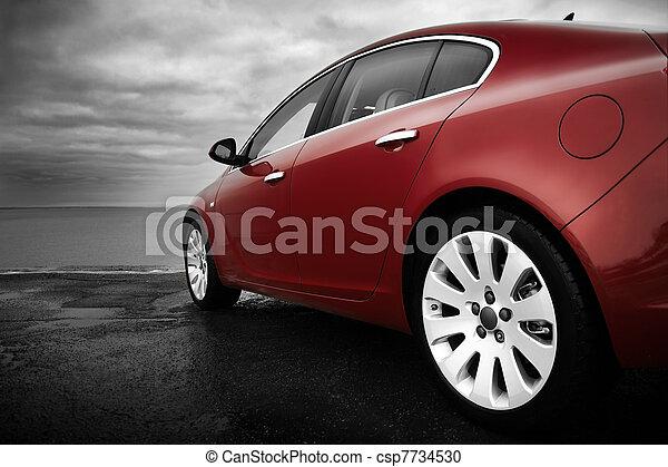 さくらんぼ, 贅沢, 赤い自動車 - csp7734530