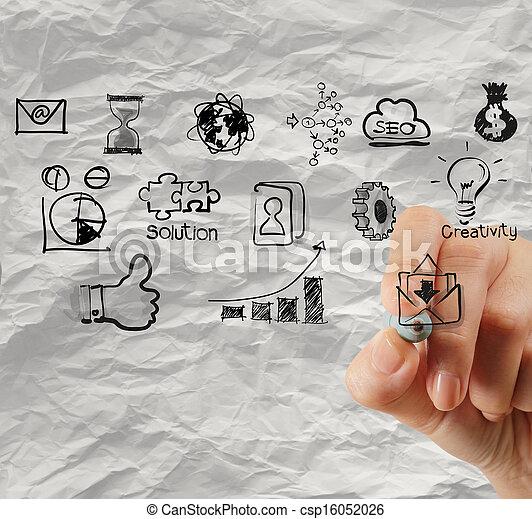 しわくちゃになった, 概念, ビジネス戦略, ペーパー, 背景, 図画, 手, 創造的 - csp16052026