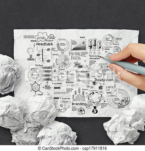しわくちゃになった, 概念, ビジネス戦略, ペーパー, 背景, 手, 図画 - csp17911816