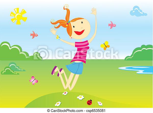 すてきである, 女の子の微笑, ベクトル, cartoons. - csp6535081