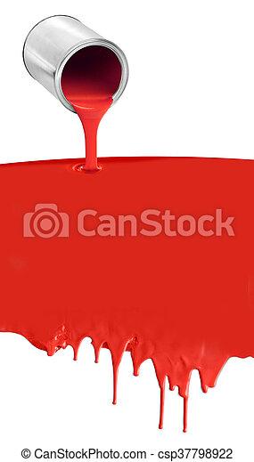 たたきつける, したたり落ちているペイント, 缶, 白い赤 - csp37798922