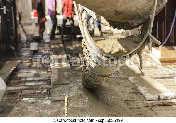 たたきつける, 基礎, 労働者, フォーカス, セメント, 建設, トラック, から - csp55836499