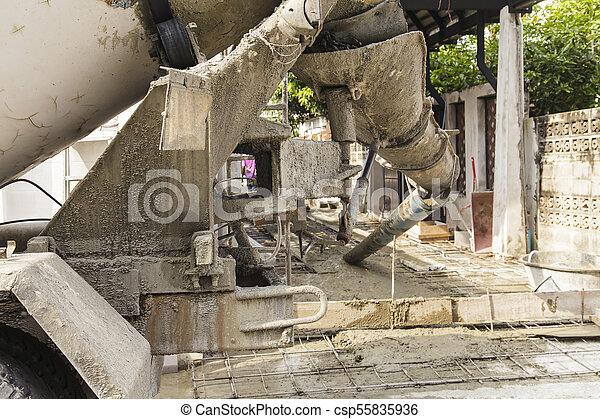 たたきつける, 基礎, 労働者, フォーカス, セメント, 建設, トラック, から - csp55835936
