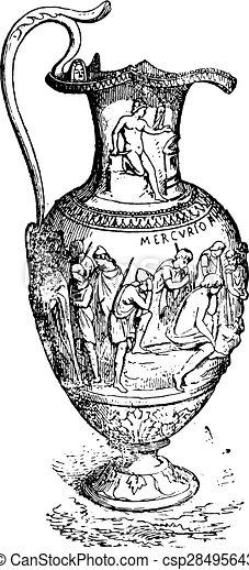 つぼ, 型, 銀, engraving. - csp28495643