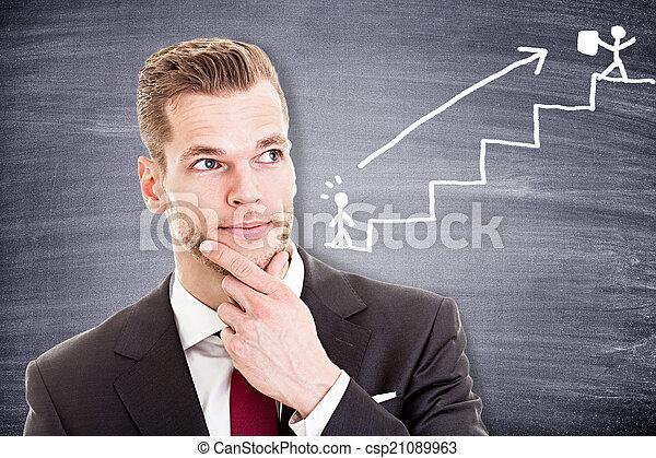 について, 彼の, 考え, 若い, キャリア, ビジネスマン - csp21089963