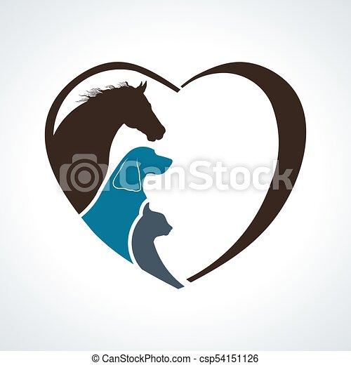 ねこ, 心, 馬, love., 犬, 一緒に, 動物 - csp54151126