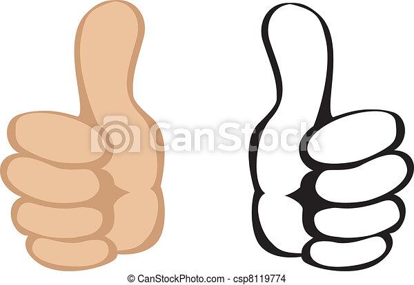 の上, ベクトル, gesture., 親指 - csp8119774