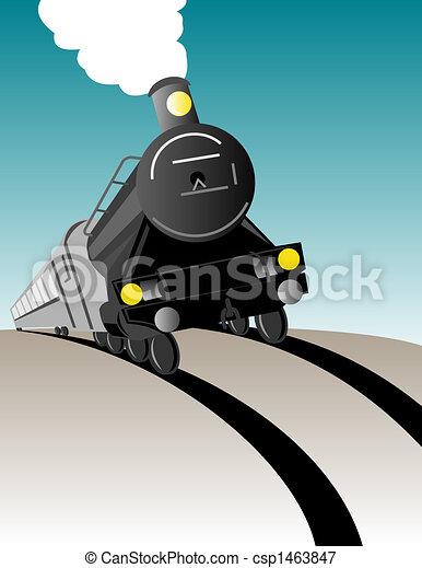 の上, 蒸気, 到来, 列車 - csp1463847