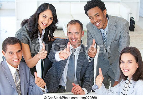 の上, 親指, ビジネスオフィス, チーム - csp2705691