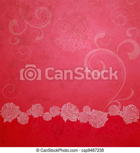 ばら, ボーダー, 赤, イラスト, textured - csp9487238