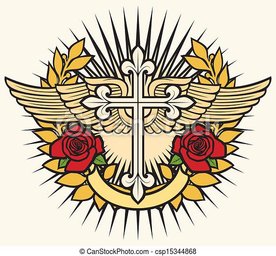 ばら, 交差点, キリスト教徒, 翼 - csp15344868