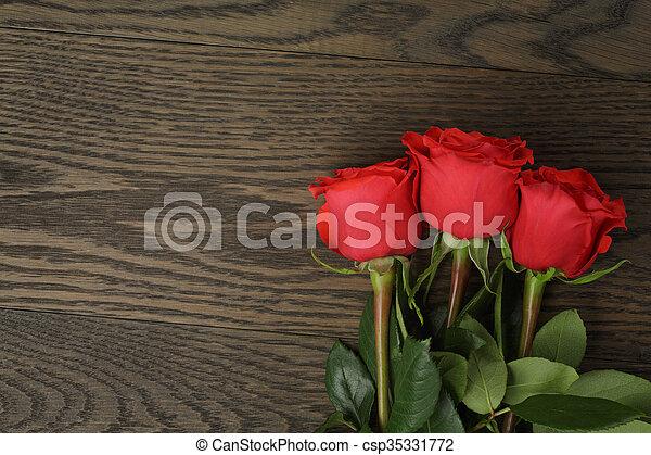 ばら, 木, 3, 赤いテーブル - csp35331772