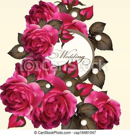 ばら, 結婚式, カード, 招待 - csp16481047