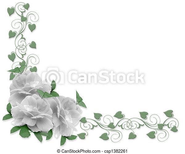 ばら, 結婚式, ボーダー, 招待 - csp1382261