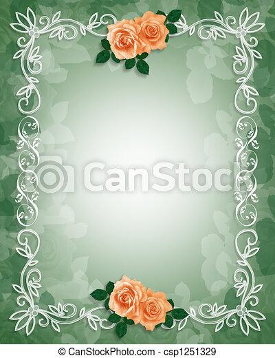 ばら, 結婚式, ボーダー, 招待 - csp1251329