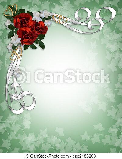 ばら, 結婚式, ボーダー, 赤, 招待 - csp2185200