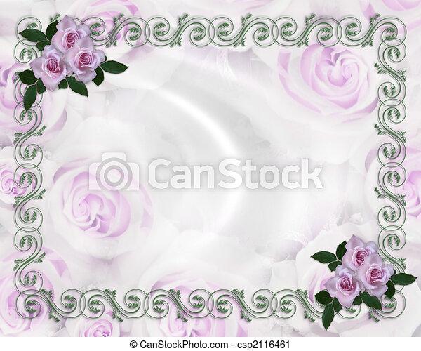 ばら, 結婚式, ラベンダー, 招待 - csp2116461